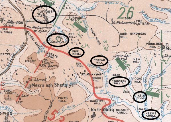 פשיטות סביב דרך ירושלים-שכם 12/8/1918