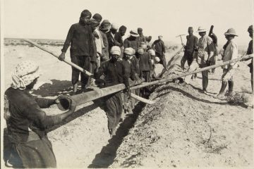 הנחת צינור מים מקסיימה לסיני עבור הכוחות הלוחמים, 1915, המקור: ספריית הקונגרס, אוסף מאטסון