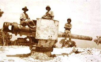 לוחמים בריטים ותותח החוף האוסטרי שנתפס על רכס הכרמל, 23 בספט' 1918